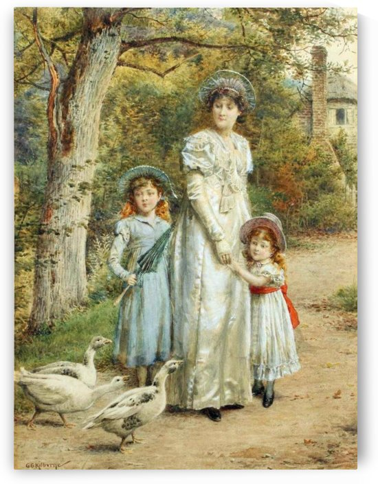 An Encounter with Geese by George Goodwin Kilburne