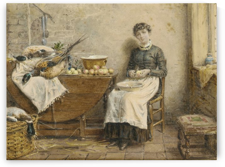 Peeling apples by George Goodwin Kilburne