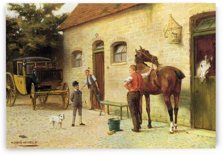 A family in front of their house by George Goodwin Kilburne