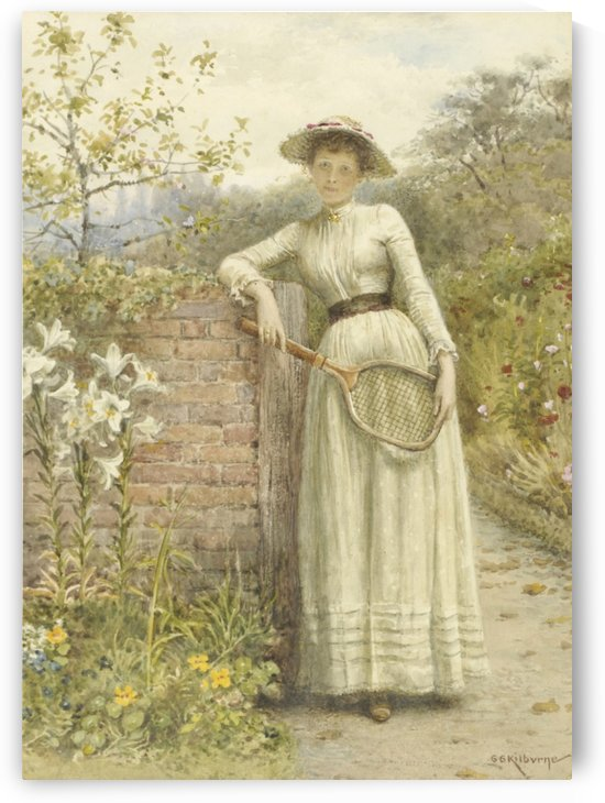 A young lady with a tennis rocket by George Goodwin Kilburne