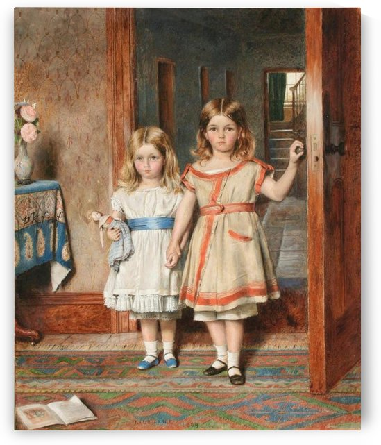 Two young girls by George Goodwin Kilburne