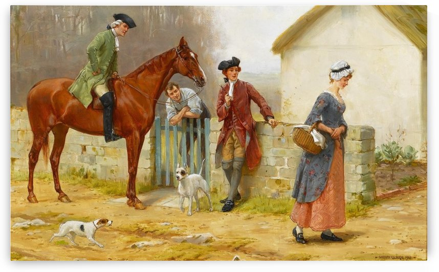 At the horse stables by George Goodwin Kilburne
