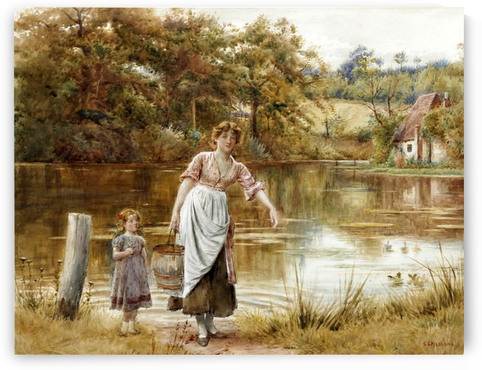 Gathering water from the pond by George Goodwin Kilburne