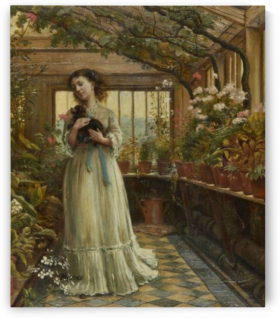 Dora laughing held the dog up childishly to smell the flowers by George Goodwin Kilburne