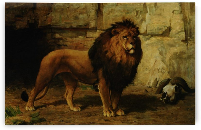 Lion Guarding His Den by George Goodwin Kilburne