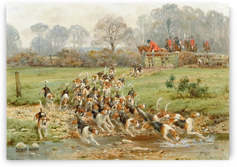 Hounds Crossing a Stream by George Goodwin Kilburne
