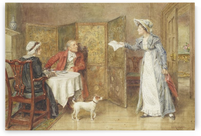 Receiving a letter by George Goodwin Kilburne
