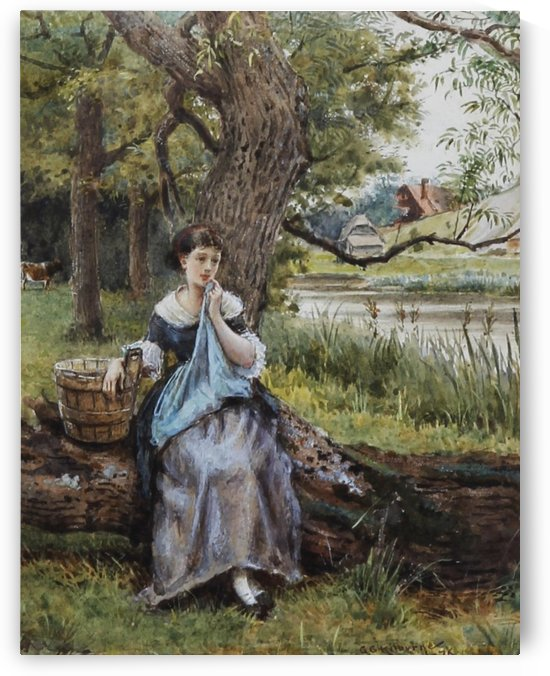 A girl sitting by the lake by George Goodwin Kilburne