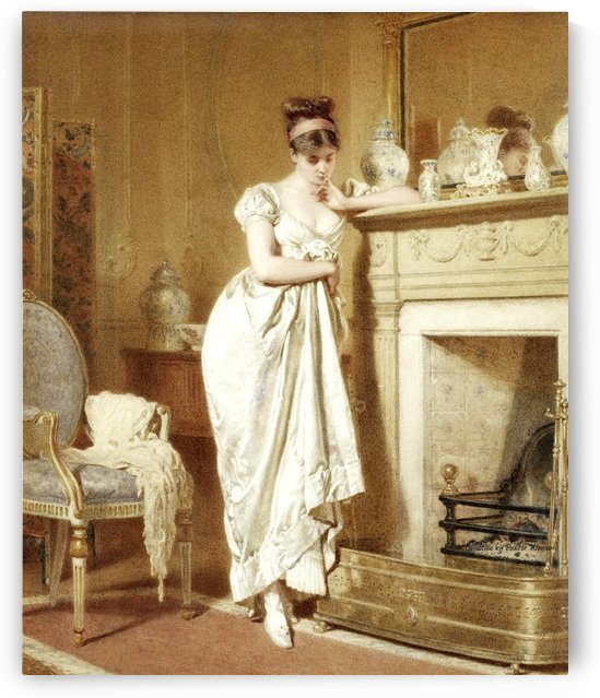 A young lady by the fireplace by George Goodwin Kilburne