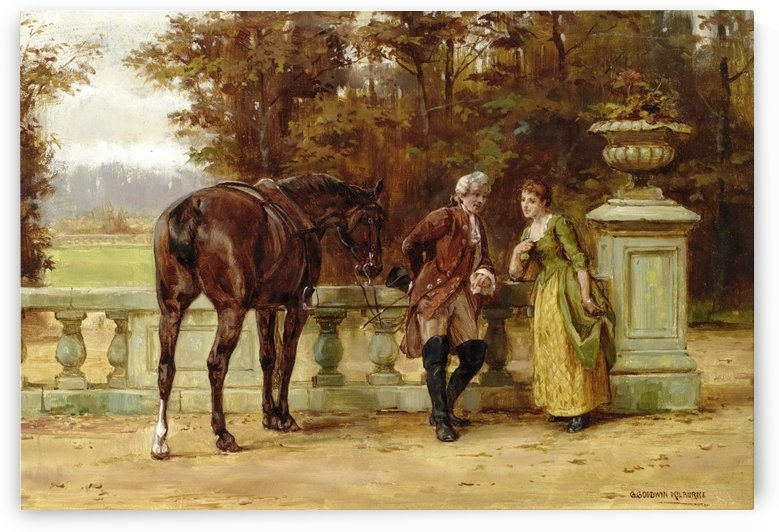 A couple and a horse by George Goodwin Kilburne