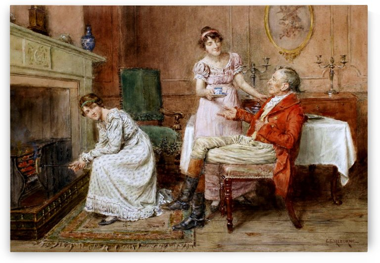 Serving tea by George Goodwin Kilburne