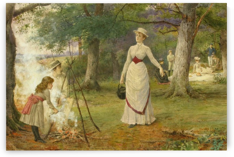 Making tea at a picnic by George Goodwin Kilburne
