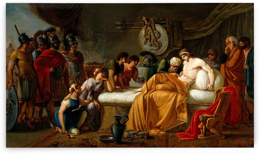Alcibiades wounded by Joseph-Marie Vien