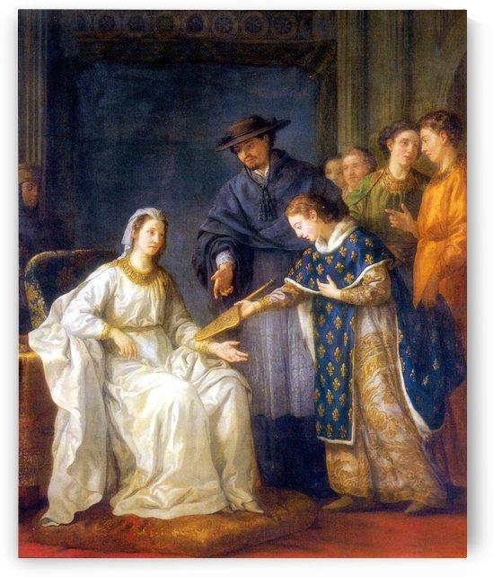 Saint Louis,roi de France, remettant la regence a sa mere by Joseph-Marie Vien