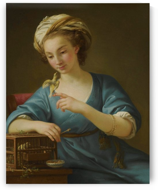 A young woman dressed a la Grecque holding a canary by Joseph-Marie Vien
