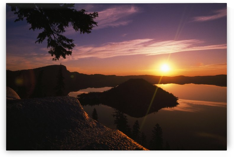 Sunrise Over Wizard Island At Crater Lake National Park by PacificStock