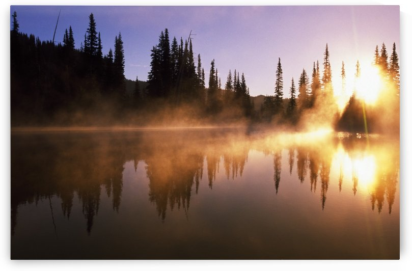 Sunbeams Through Mist On Lake by PacificStock
