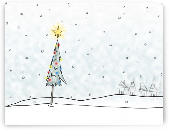 Christmas Tree In Snowfall by PacificStock