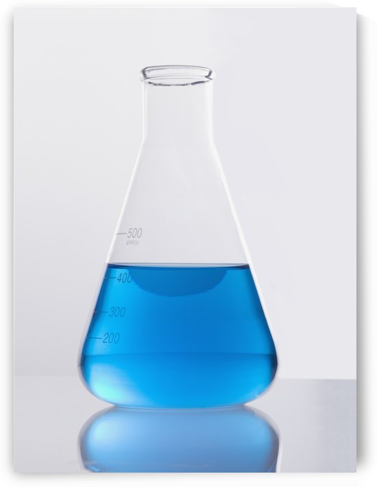 Single Glass Flask With Blue Solution by PacificStock
