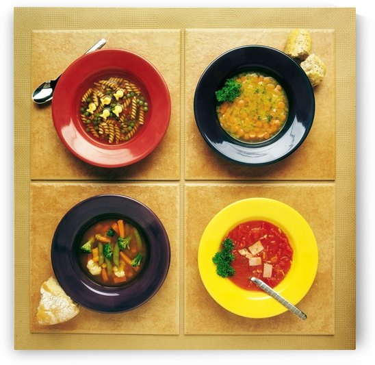 Four Dishes Of Different Food by PacificStock