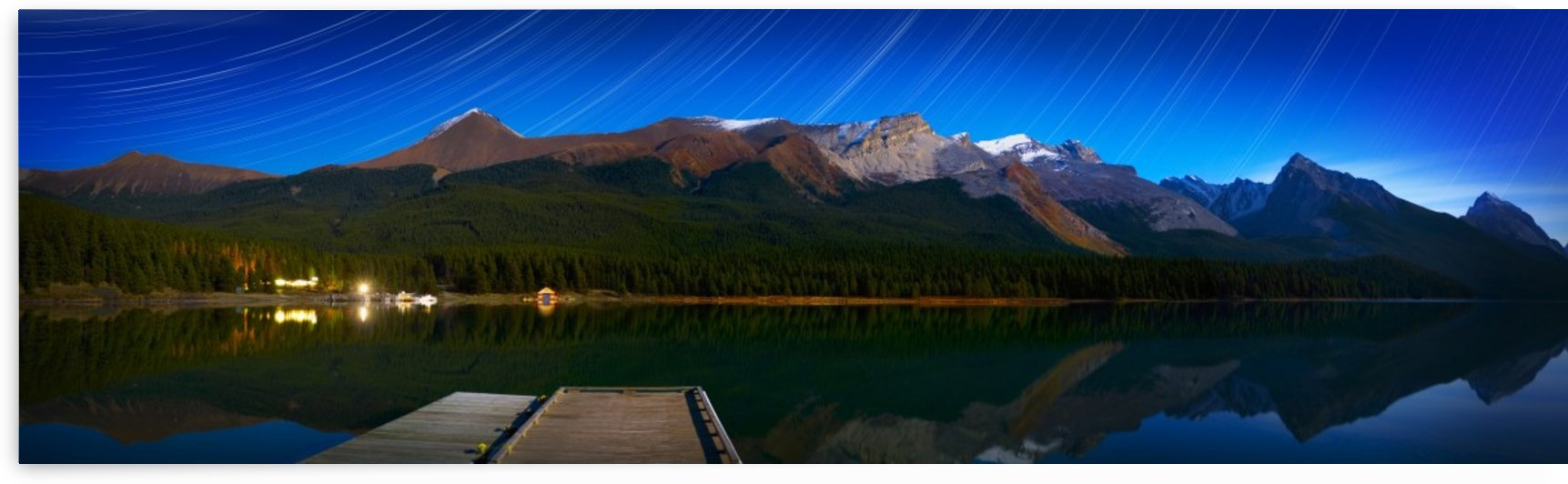 Starry Night Panoramic Of Mountains And Lake, Jasper National Park, Alberta, Canada by PacificStock
