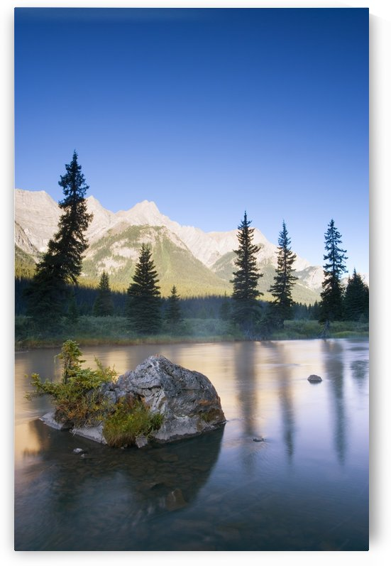 Sunrise And Early Morning Mist On Mountain River by PacificStock