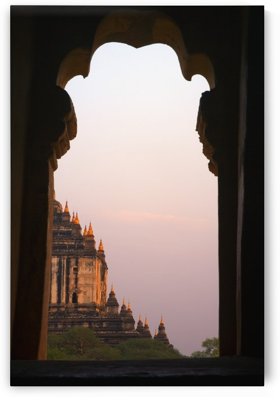 Temple At Sunset Seen From Temple Window In Myanmar, Burma by PacificStock