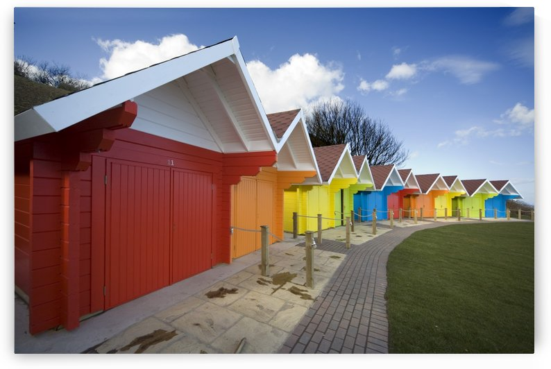 Colorful Beach Huts, Scarborough, North Yorkshire, England by PacificStock