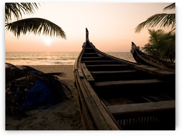 Two Canoes On The Beach At The Arabian Sea, Kerala, India by PacificStock