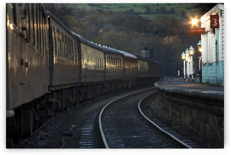Train At Station At Dusk, Pickering, North Yorkshire, England by PacificStock