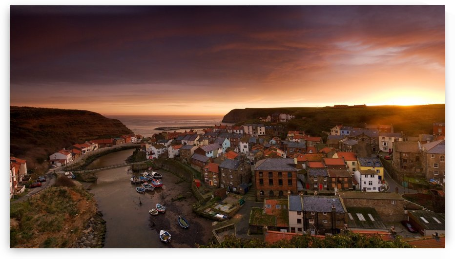 Wide Angle Cityscape At Sunset, Staithes, Yorkshire, England by PacificStock