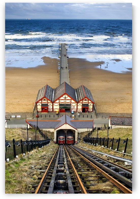 Tram Tracks Leading To Beach, Saltburn, North Yorkshire, England by PacificStock