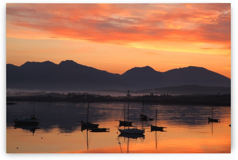 Sunrise At Roundstone Harbour With 12 Bens, Galway, Ireland by PacificStock