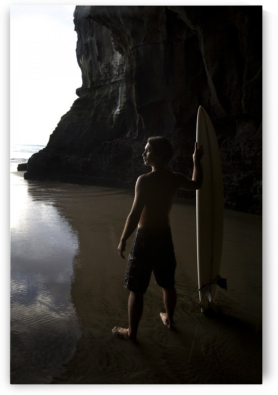 Surfer At Muriwai New Zealand by PacificStock
