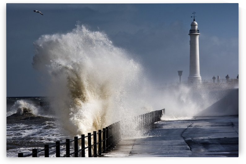 Waves Crashing By Lighthouse At Sunderland, Tyne And Wear, England, United Kindgom by PacificStock
