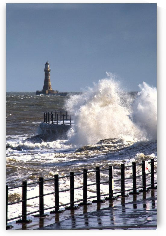 Waves Crashing By Lighthouse At Sunderland, Tyne And Wear, England, United Kingdom by PacificStock