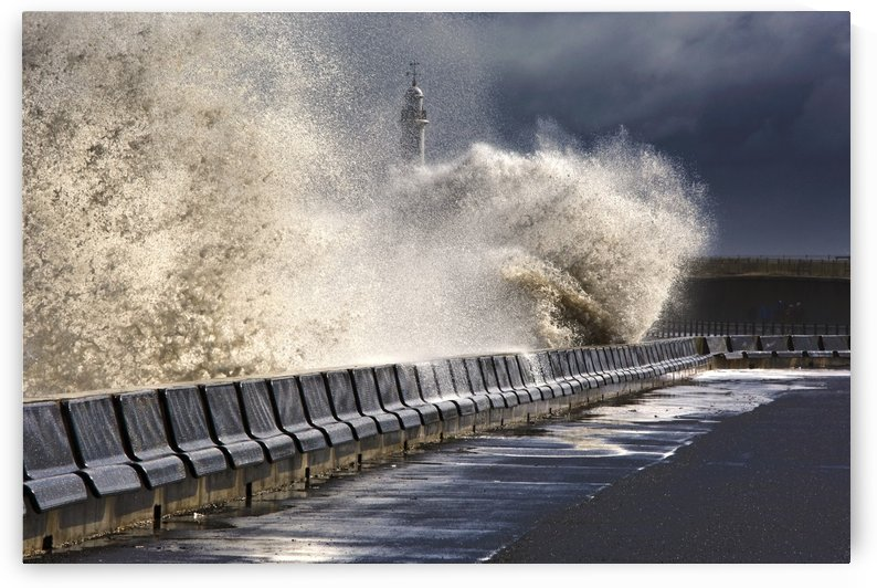 Waves Crushing Against Barrier, Sunderland, Tyne And Wear, England by PacificStock