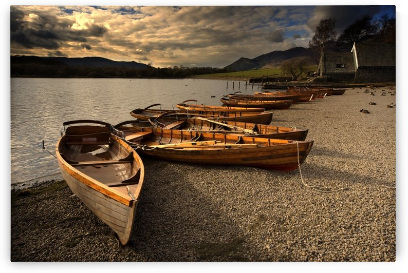 Canoes On The Shore, Keswick, Cumbria, England by PacificStock