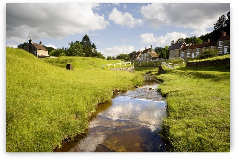 Stream By A Village, North Yorkshire, England by PacificStock