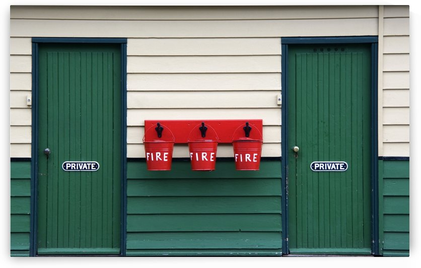 Two Doors And Buckets For Fire Prevention by PacificStock