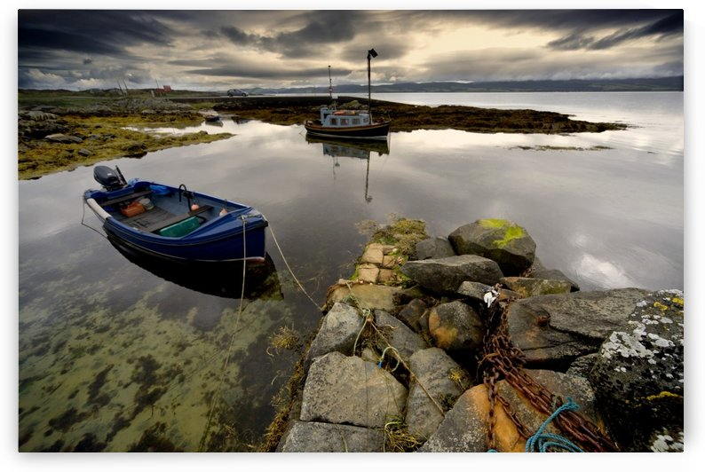 Islay, Scotland; Two Boats Anchored By A Beach by PacificStock