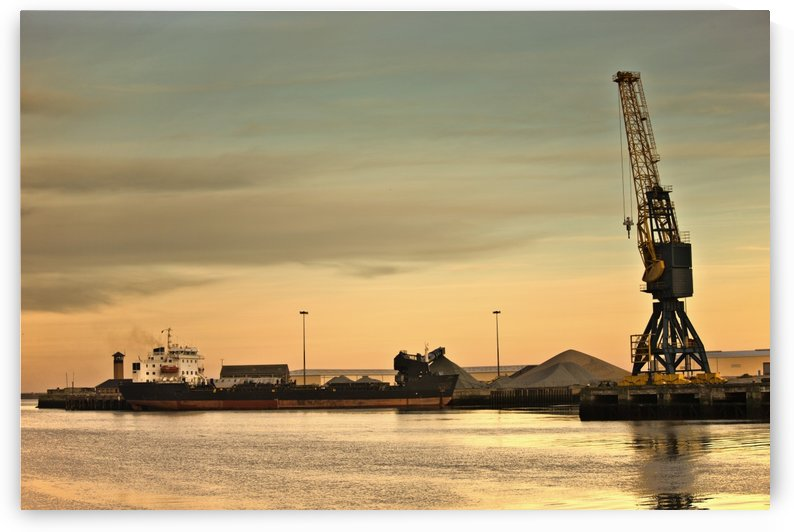 Tyne And Wear, Sunderland, England; Crane At A Shipping Dock by PacificStock