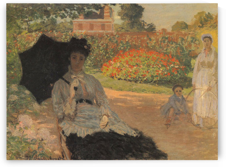 Camille in the garden with Jean and his nanny by Monet by Monet