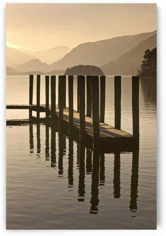 Wooden Dock In The Lake At Sunset, Cumbria, England by PacificStock