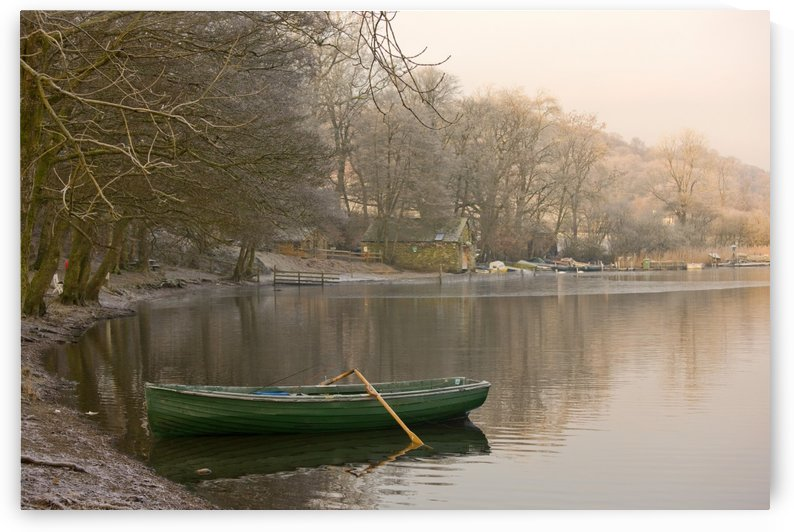 Rowboat Sitting At The Shore Of A Lake, Cumbria, England by PacificStock