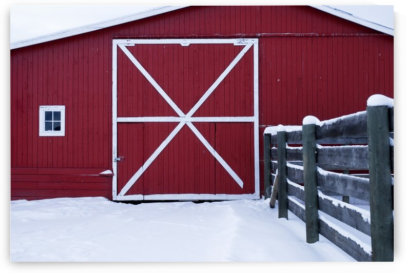 Red Barn With Snow by PacificStock