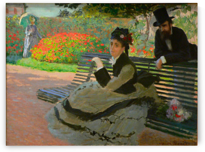 Camille Monet on a garden bench by