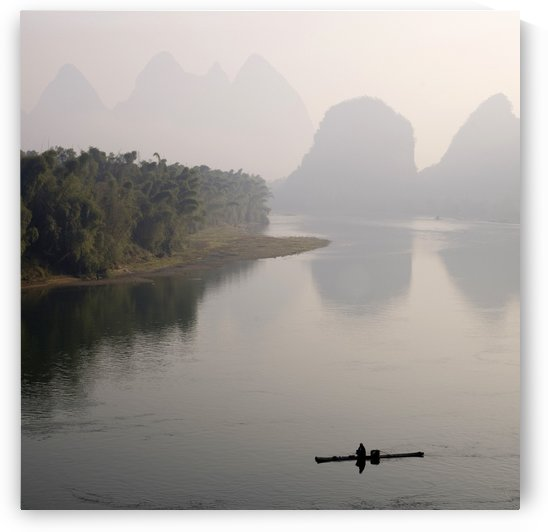 Li River, Yangshuo County, Guilin, Guangxi Province, China; Lone Boater by PacificStock