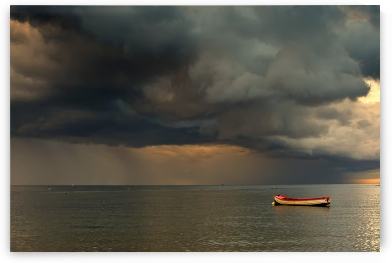 North Sea, Sunderland, Tyne And Wear, England; Dark Clouds And Lone Boat by PacificStock