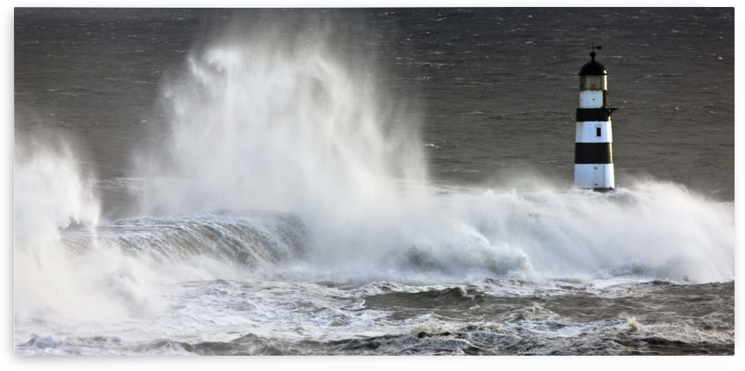 Waves Crashing On A Lighthouse, Seaham, Teesside, England by PacificStock